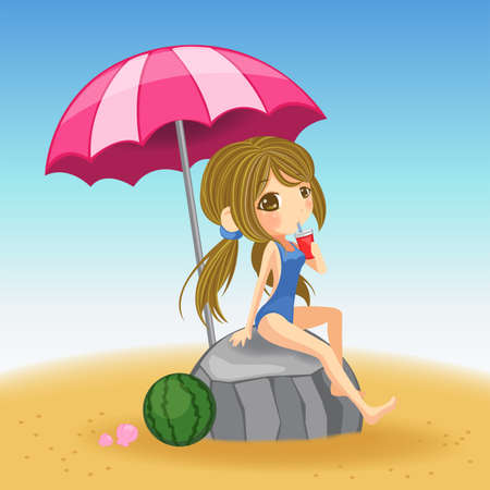one piece: Cute girl in swimsuit resting on the rock in the beach Illustration