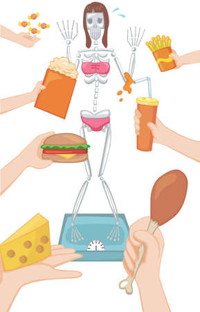 starving: A woman always think she is fat Illustration