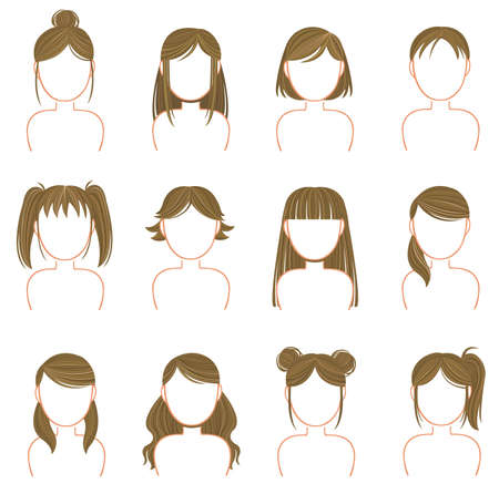 pigtails: Gold hairstyle icon collection set, create by vector