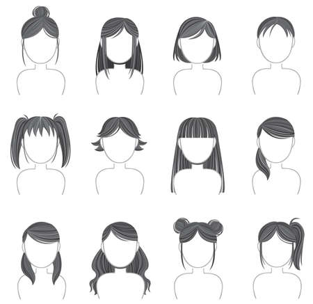 ponytail: Silhouette hairstyle icon collection set