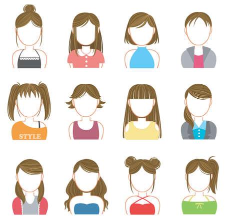t shirt model: Donne trucco e icona della moda insieme di raccolta