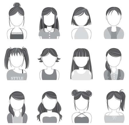t shirt model: Silhouette donne trucco e icona della moda insieme di raccolta, creare un vettore