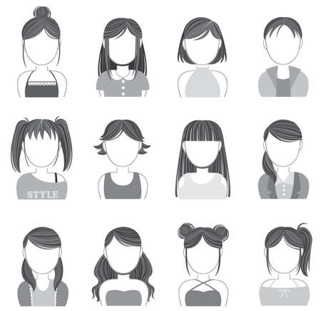 Silhouette women makeup and fashion icon collection set , create by vector Illustration