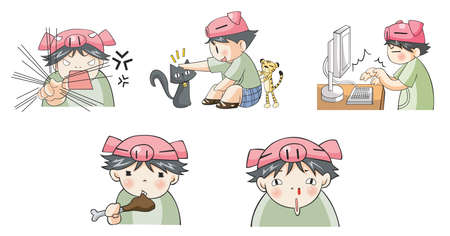 pervert: Piggy boy cartoon icon in various action set 6, create by vector Illustration