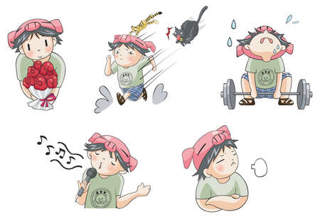 annoy: Piggy boy cartoon icon in various action set 7, create by vector Illustration