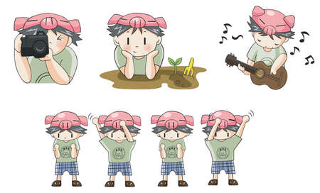 boy playing guitar: Piggy boy cartoon icon in various action set 8, create by vector