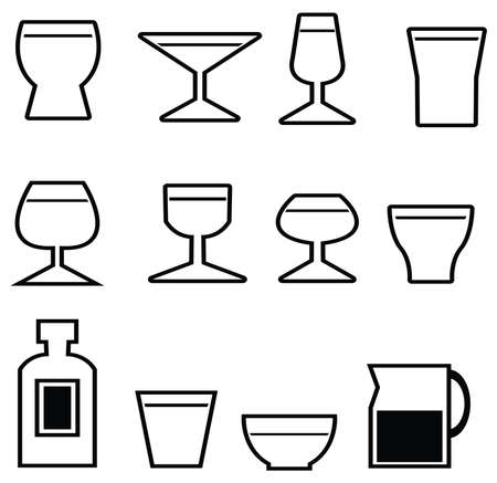 Set of silhouette glasses and cups icon, create by vector Vector