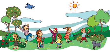 Children having a good time in spring landscape Vector
