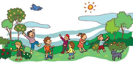 Enfants s'amusant dans un paysage printanier Vecteurs