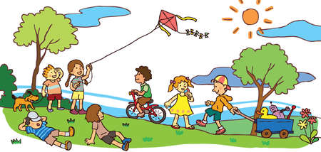 자손: 아이들은 화창한 여름 풍경에서 좋은 시간을 보내고