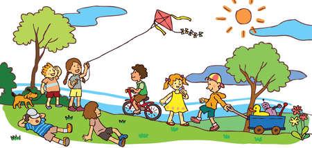 ni�os jugando en el parque: Los ni�os tienen un buen rato en el soleado paisaje de verano Vectores