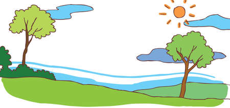 Child cartoon summer hill landscape background with green environment Vector