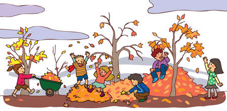 Children having a good time in autumn landscape with falling leaves