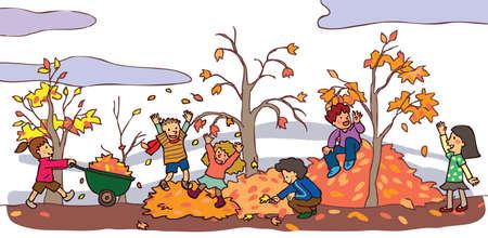 Kinderen hebben een goede tijd in de herfst landschap met vallende bladeren