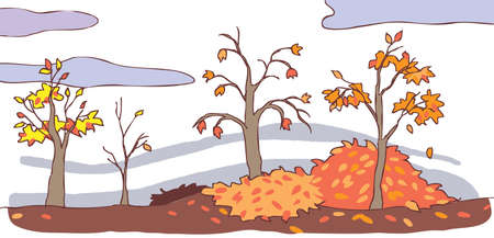 Child cartoon autumn landscape background Vector