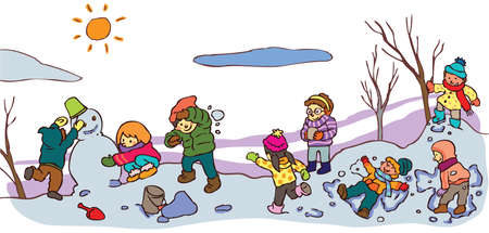 winter tree: Children having a good time in winter landscape with snow Illustration