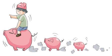 cerdo caricatura: Piggy niño que lleva cerditos Vectores