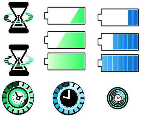 sand timer: Battery and timing icons set with half-silhouette design