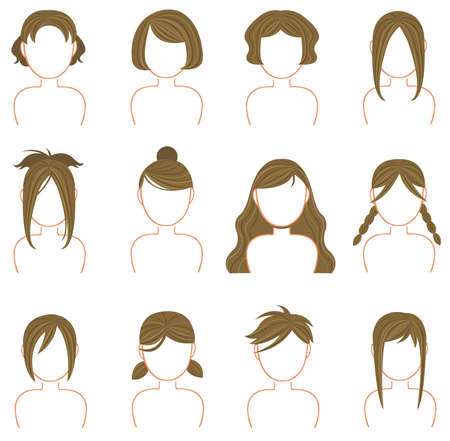 Gold hairstyle icon collection   Vector