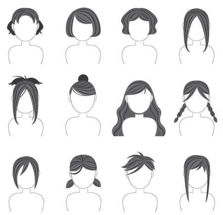 plait: Silhouette hairstyle icon collection Illustration