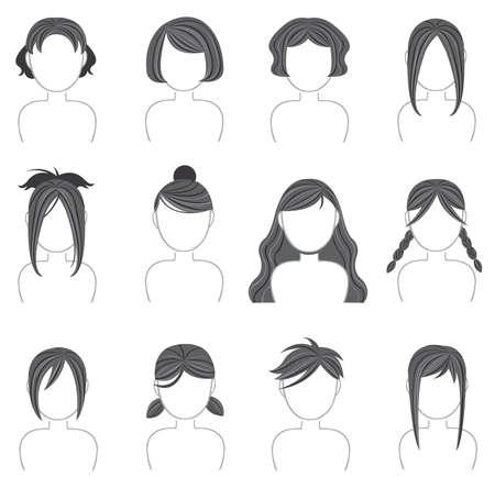peluca: Silueta de la colecci�n icono peinado Vectores