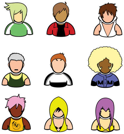 Wrestler and punk style icon set. Vector