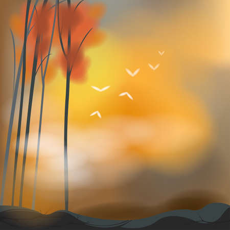 barren: Barren autumn background in sunset scene. Illustration