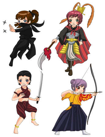 Warriors girl from various culture set 3. Vector
