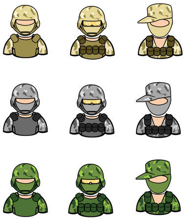 military beret: Soldier icon collection set 1.