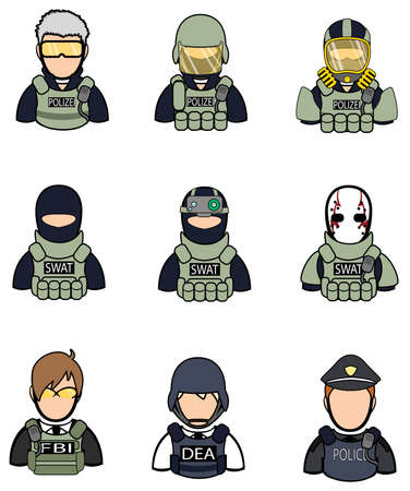 gas mask danger sign: Soldier and police icon collection set 2.