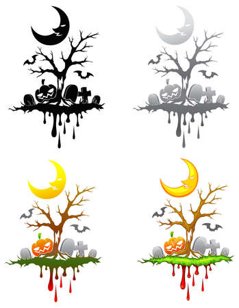 Halloween floating isle decoration set. Vector