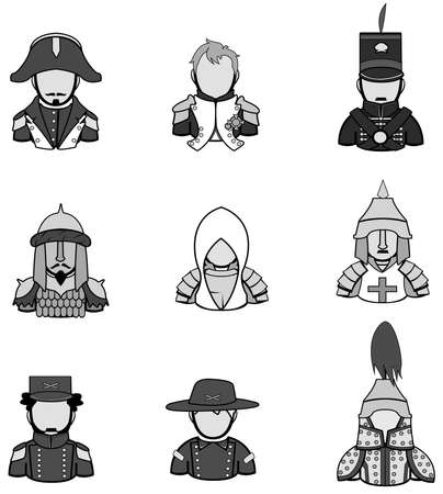 Silhouette ancient warrior icon collection set 1. Stock Vector - 22342693
