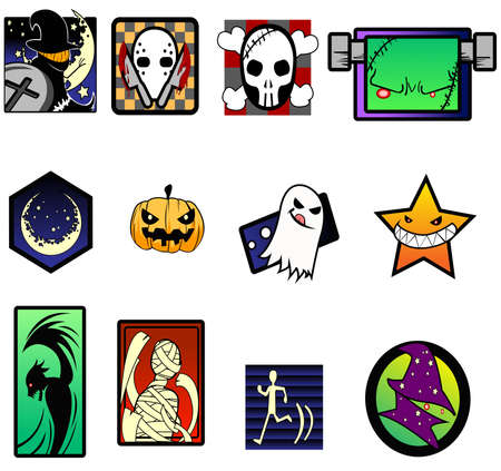punk rock: Fancy and extreme Halloween symbol set.