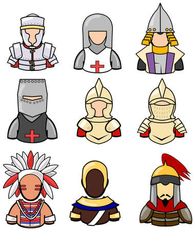 Ancient warrior icon collection set 2. Vector