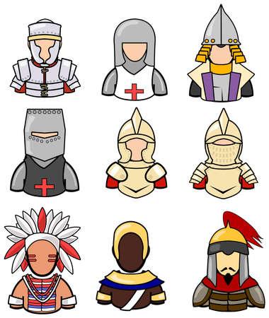 comandante: Antica collezione di icone guerriero set 2. Vettoriali