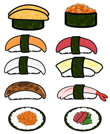 anti aging: Sushi icon collection set. Illustration