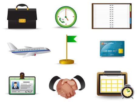viaje de negocios: Viaje de negocios conjunto de la colecci�n icono, crear por el vector