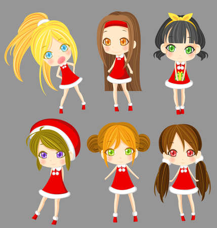 cosplay: Cute sprite Santa girls set, create by vector Illustration