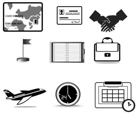 rely: Silhouette business trip icon collection set, create by vector Illustration