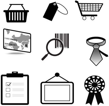 Silhouette sales and commerce material icon collection set Stock Vector - 22882335