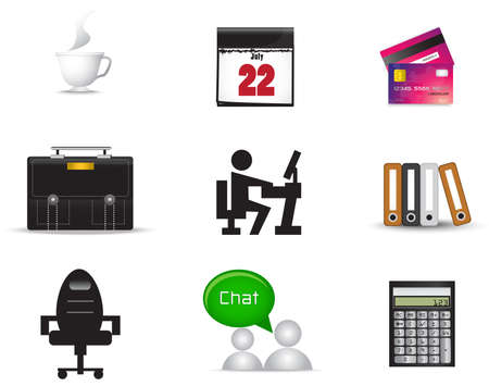 salaryman: Office material icon collection set, create by vector