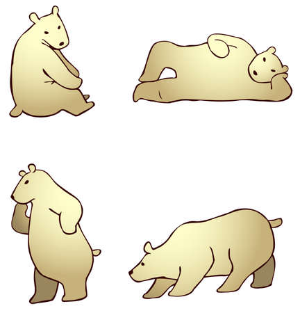 lie down: Cartoon polar bear in different action, create by vector