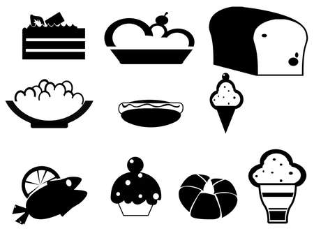 Silhouette food and dessert icon set Vector