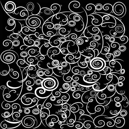 kinky: Black and white stylish and trendy vintage curly abstract background