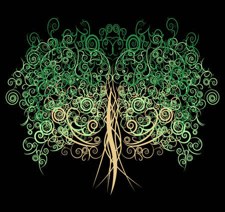 Unique curly tree made with many curves and elements in black background Vector