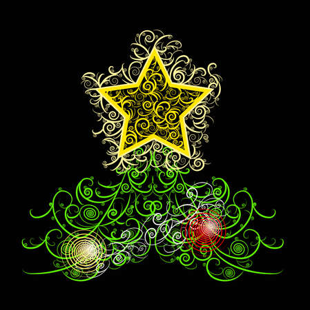 Unique curly Christmas tree design in black background Vector