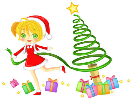 cosplay: Cute Santa girl is creating a Christmas tree with her magical ribbon Illustration