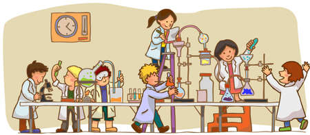 Children are studying and working in the laboratory 向量圖像