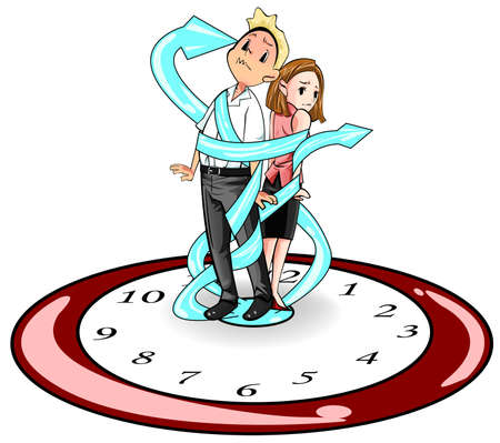 dependent: Man and woman in present days are imprisoned and bounded by time like standing on a giant clock and strap by the clock hand, create by vector