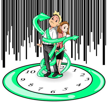 Man en vrouw in de huidige dagen worden opgesloten en begrensd door de tijd zoals die op een reusachtige klok en band door de klok de hand, maken door vector